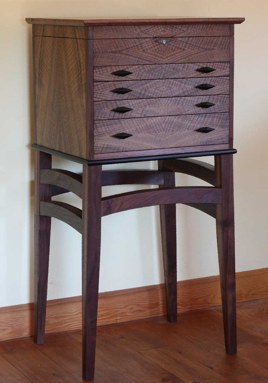 custom made walnut floorstanding silverware chest on a stand