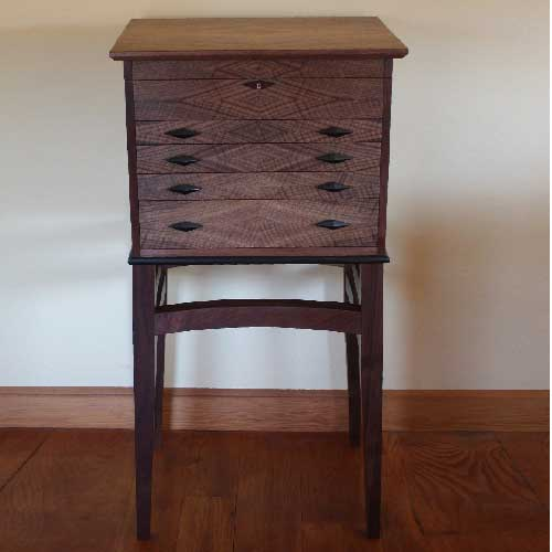 Favorite custom made walnut floorstanding silverware chest on a stand QU05