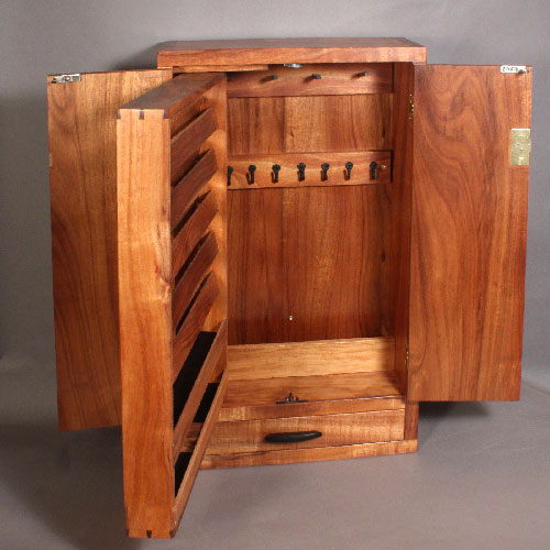 custom wall mounted koa jewelry cabinet