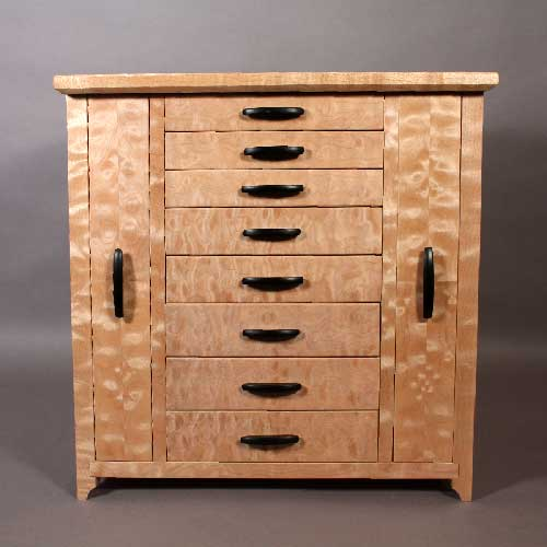 Quilted Maple Jewelry Cabinet