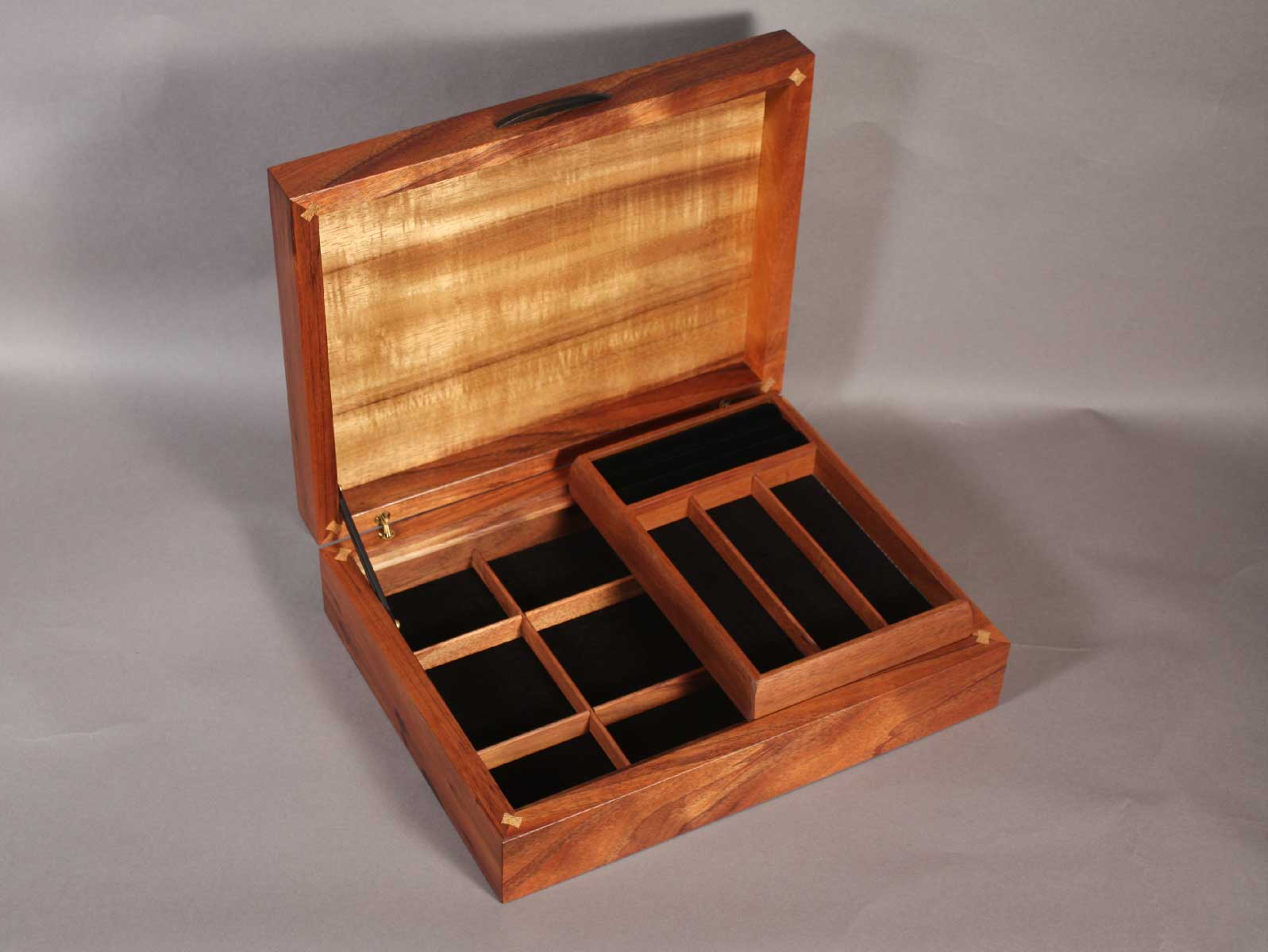 koa jewelry boxes with handcrafted inlay