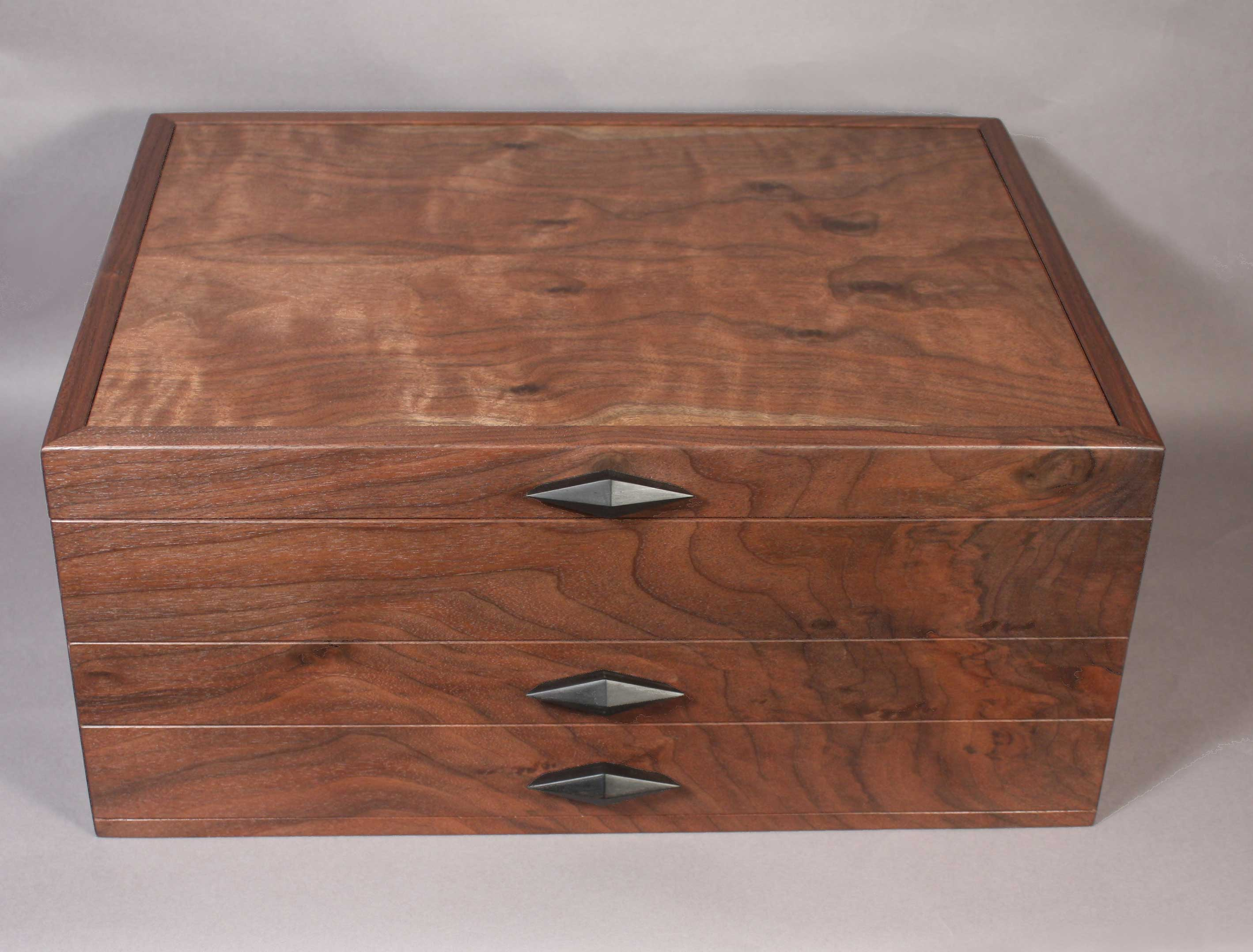 Custom made walnut silverware chests for Box for flatware storage