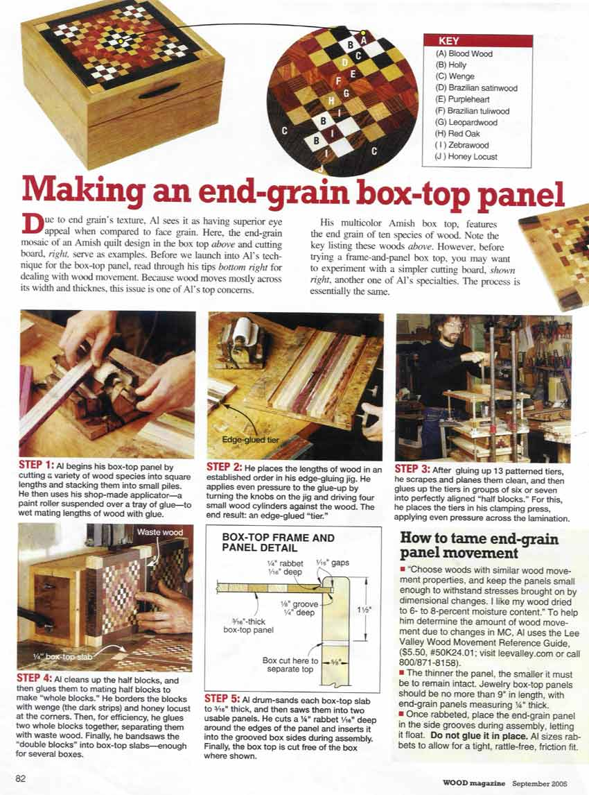Jewelry box making article from Wood magazine, September 2005 ...