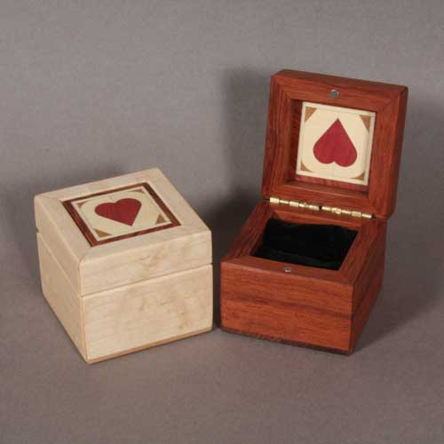 Wood ring boxes for wedding rings and engagement rings for Heart ring box